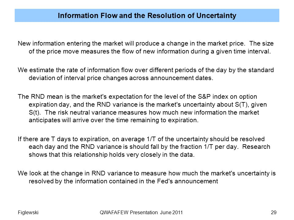 Information Flow and the Resolution of Uncertainty New information entering the market will produce a change in the market price.