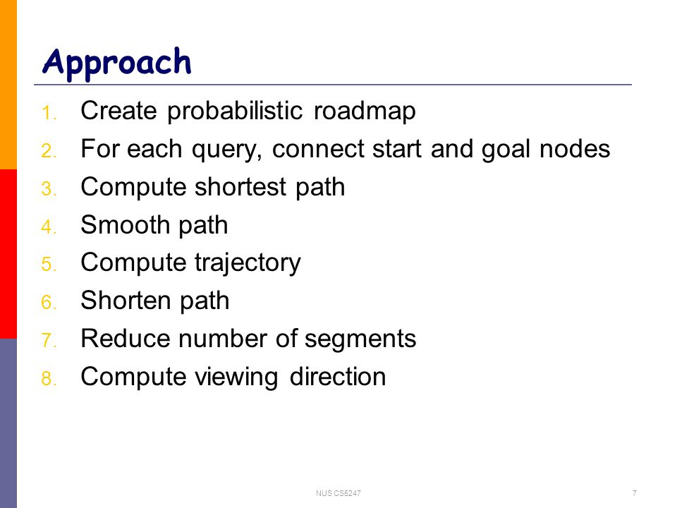 NUS CS52477 Approach 1. Create probabilistic roadmap 2. For each query, connect start and goal nodes 3. Compute shortest path 4. Smooth path 5. Comput