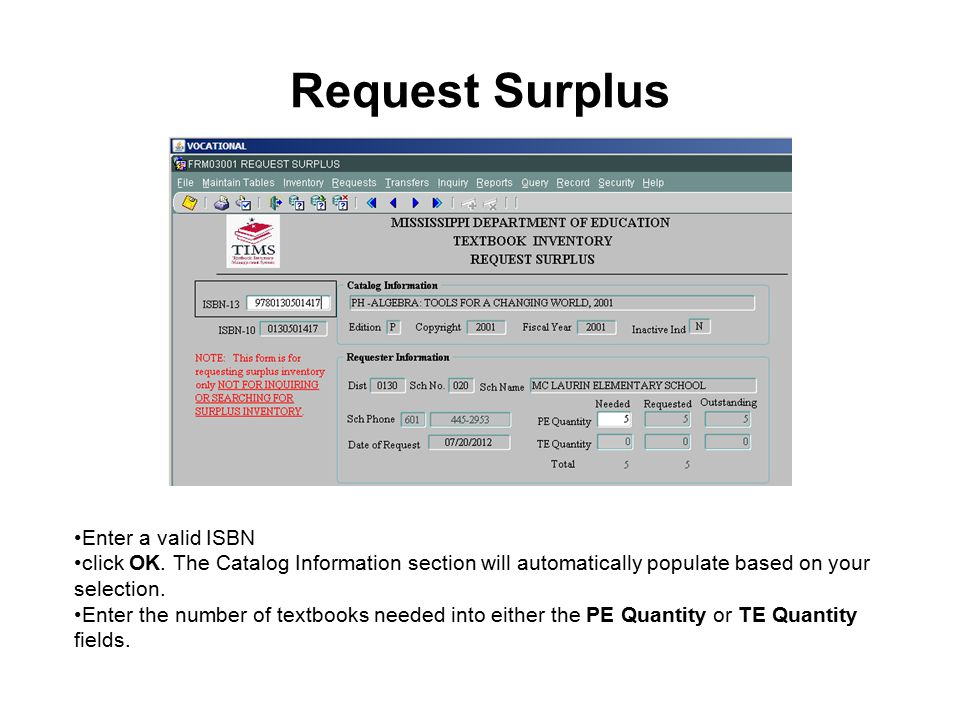 Request Surplus Enter a valid ISBN click OK.