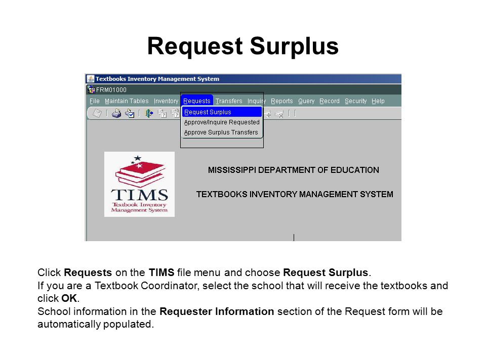 Request Surplus Enter a valid ISBN click OK.