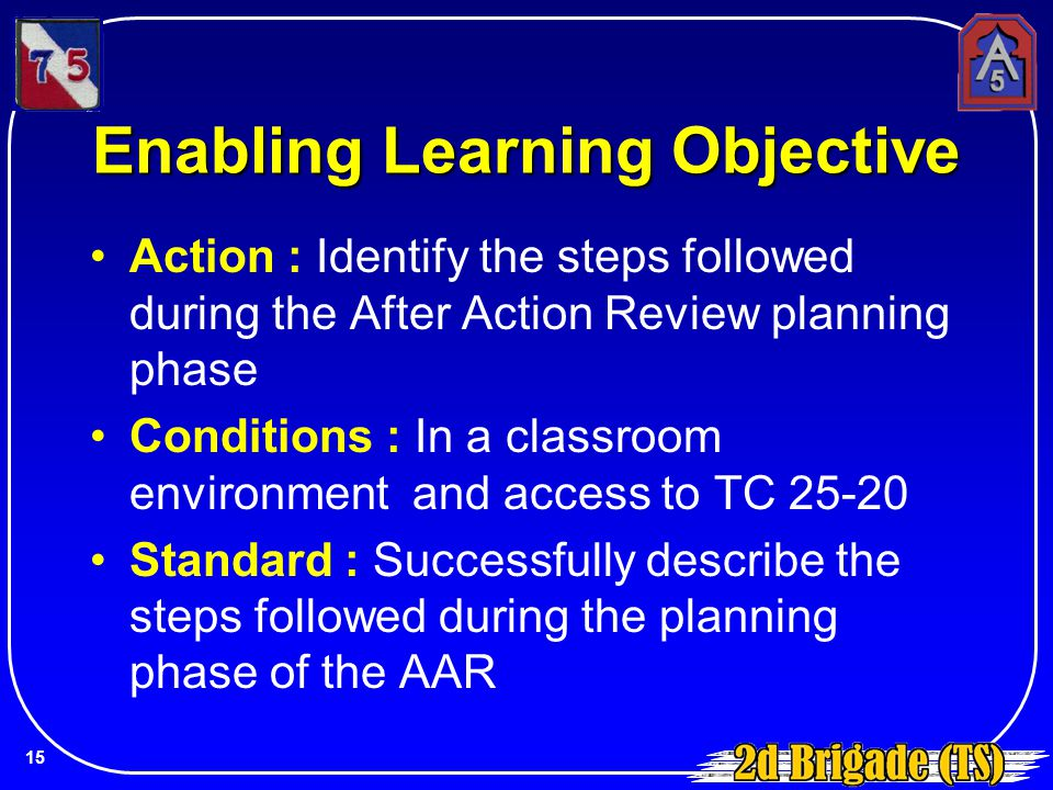Enabling Learning Objective Action : Identify the steps followed during the After Action Review planning phase Conditions : In a classroom environment
