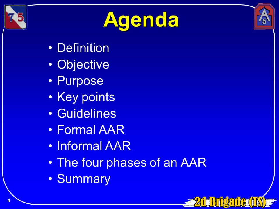 Agenda Definition Objective Purpose Key points Guidelines Formal AAR Informal AAR The four phases of an AAR Summary 4