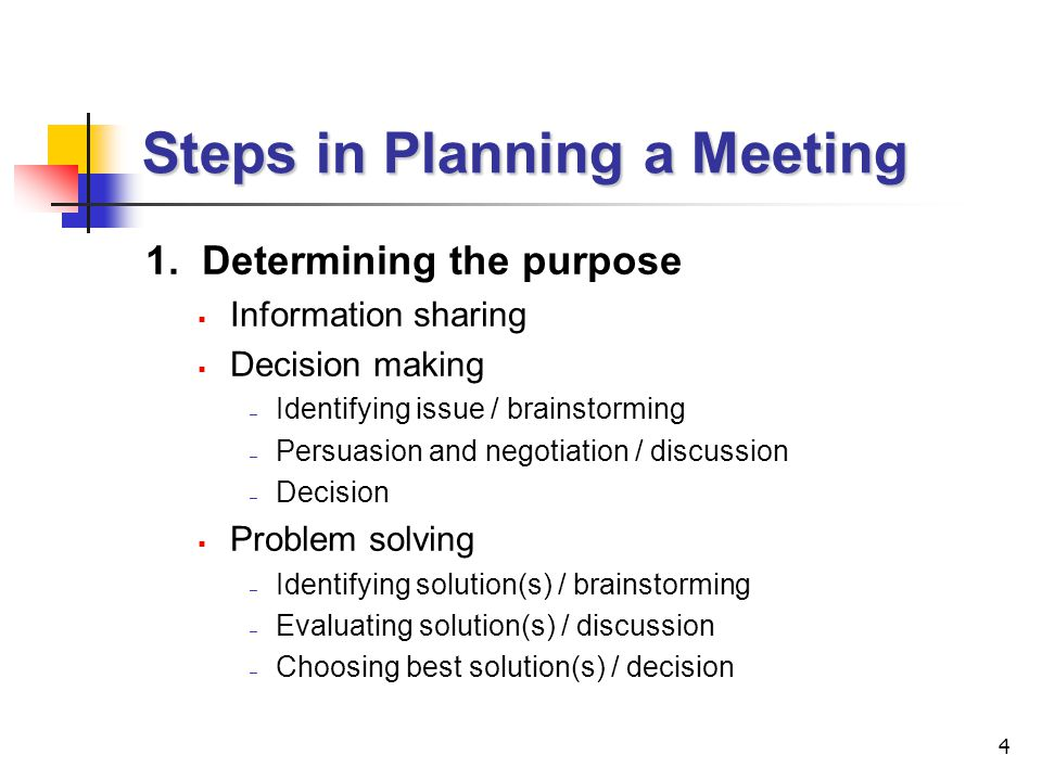 5 Steps in Planning a Meeting (cont'd) 2.