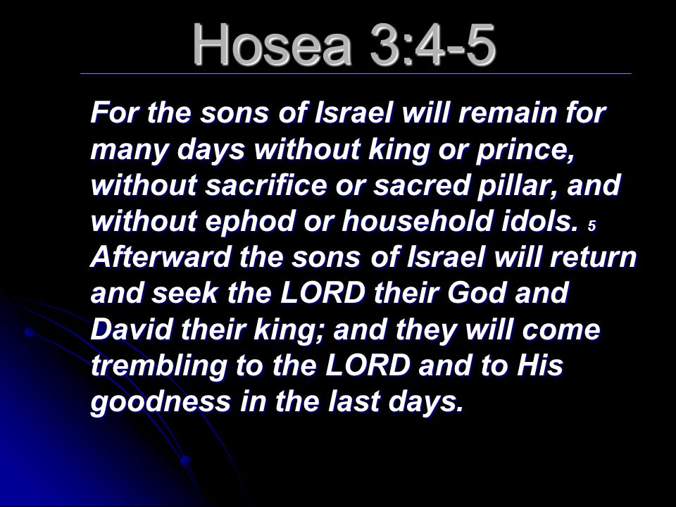 Hosea 3:4-5 For the sons of Israel will remain for many days without king or prince, without sacrifice or sacred pillar, and without ephod or househol