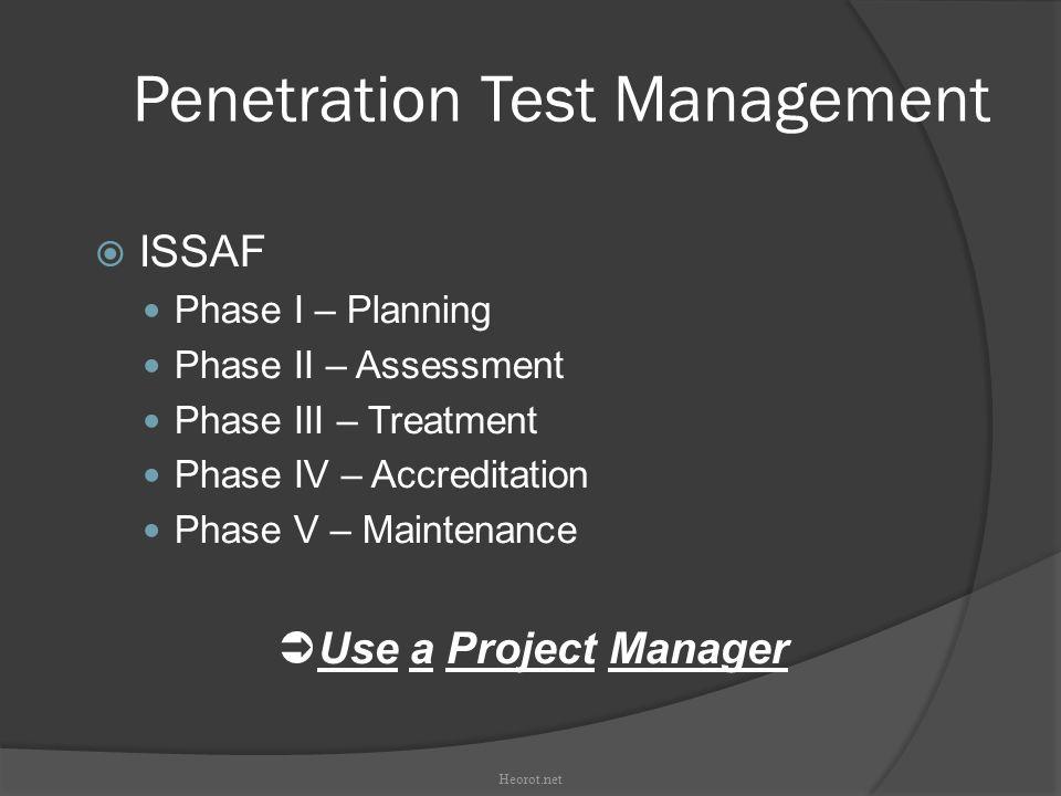 Penetration Test Management  ISSAF Phase I – Planning Phase II – Assessment Phase III – Treatment Phase IV – Accreditation Phase V – Maintenance  Us
