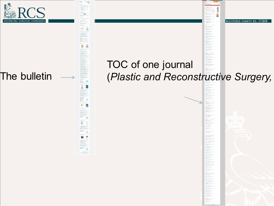 Bulletin Journal TOC37 Plastic surgery titles plus 44 general medical and surgical titles