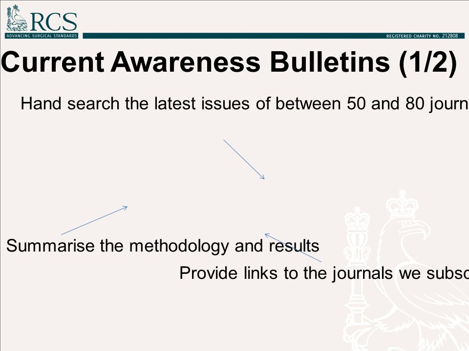 Hand search the latest issues of between 50 and 80 journal titles as well as other sources Summarise the methodology and results Provide links to the journals we subscribe to along with a link to the relevant help pages on our website Current Awareness Bulletins (1/2)