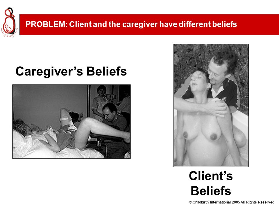 Caregiver's Beliefs PROBLEM: Client and the caregiver have different beliefs Client's Beliefs © Childbirth International 2005 All Rights Reserved