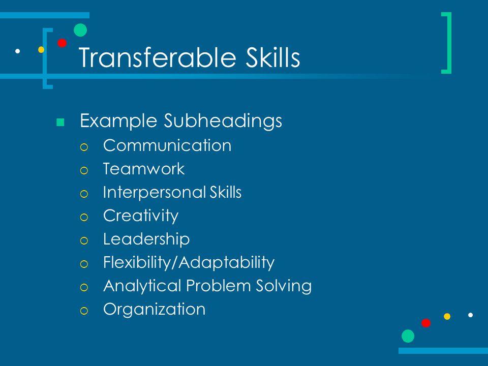 Transferable Skills Example Subheadings  Communication  Teamwork  Interpersonal Skills  Creativity  Leadership  Flexibility/Adaptability  Analytical Problem Solving  Organization