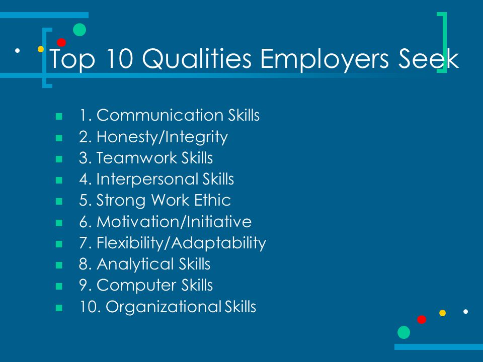 Top 10 Qualities Employers Seek 1. Communication Skills 2. Honesty/Integrity 3. Teamwork Skills 4. Interpersonal Skills 5. Strong Work Ethic 6. Motiva