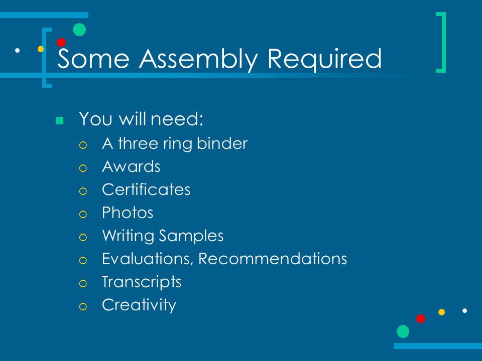 Some Assembly Required Cover Page Career Goal Statement Resume Skills