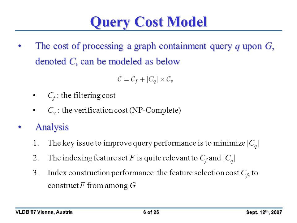 Sept. 12 th, 2007 VLDB'07 Vienna, Austria 6 of 25 Query Cost Model The cost of processing a graph containment query q upon G, denoted C, can be modele