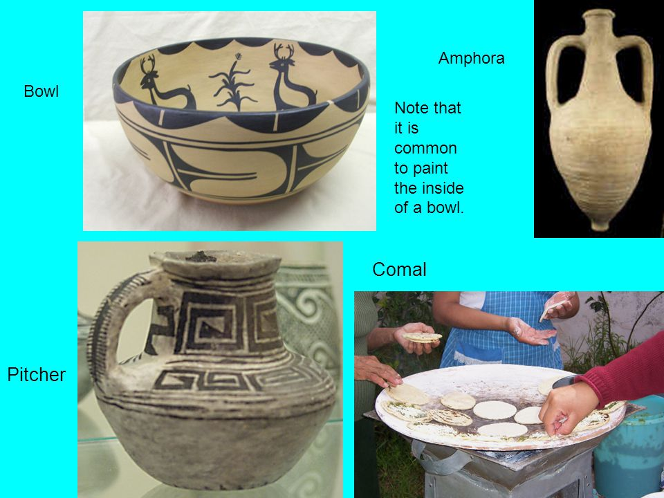 Pitcher Bowl Amphora Comal Note that it is common to paint the inside of a bowl.