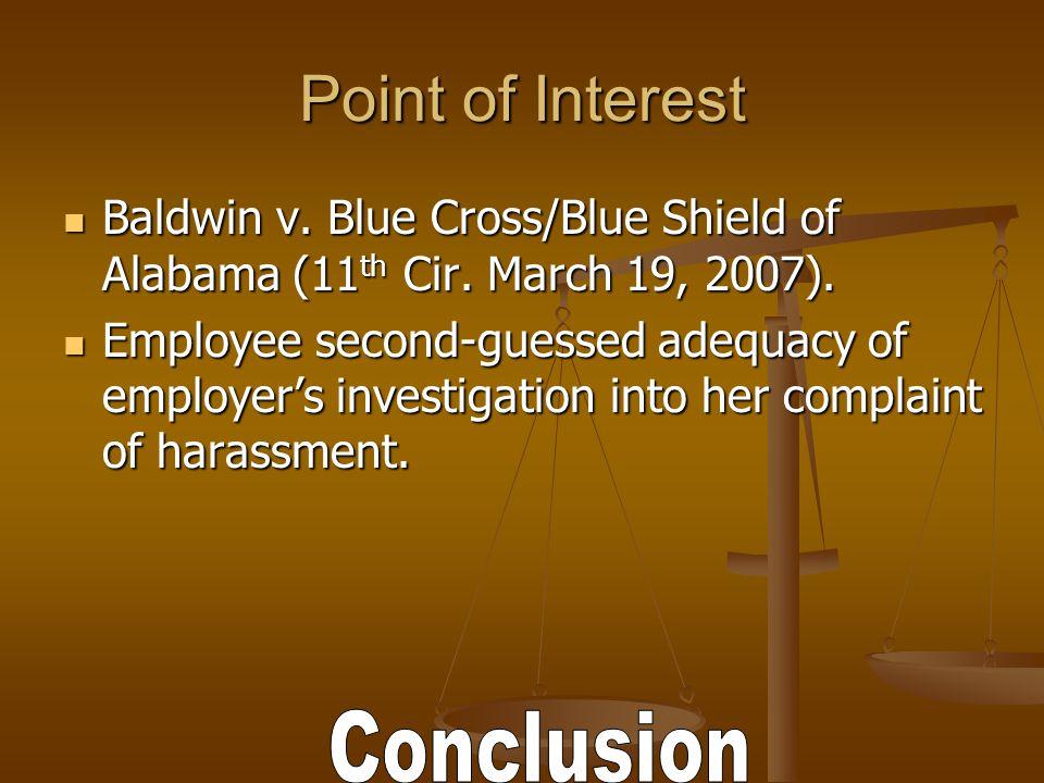 Point of Interest Baldwin v. Blue Cross/Blue Shield of Alabama (11 th Cir.