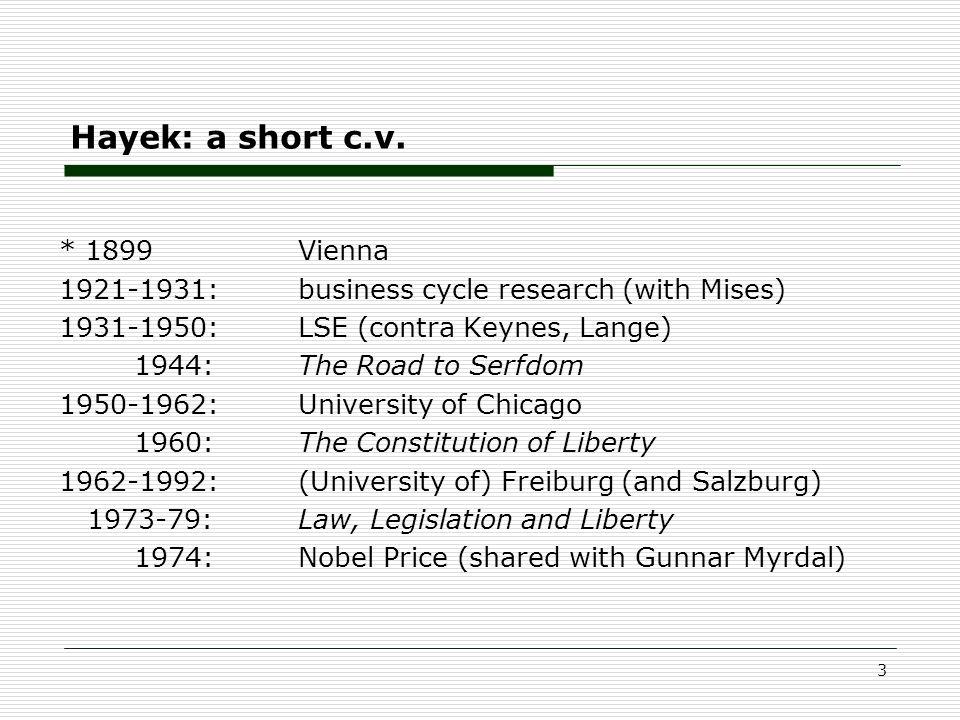 Hayek: a short c.v.