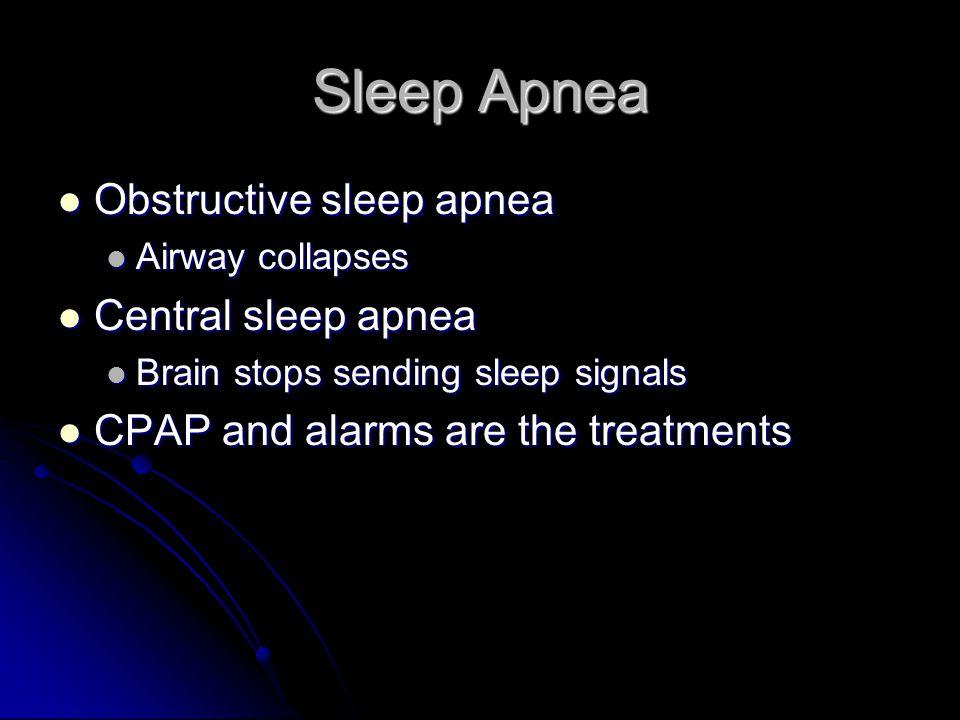 Sleep Apnea Obstructive sleep apnea Obstructive sleep apnea Airway collapses Airway collapses Central sleep apnea Central sleep apnea Brain stops send
