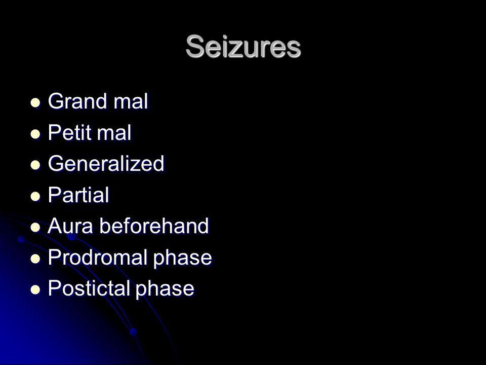 Seizures Grand mal Grand mal Petit mal Petit mal Generalized Generalized Partial Partial Aura beforehand Aura beforehand Prodromal phase Prodromal pha