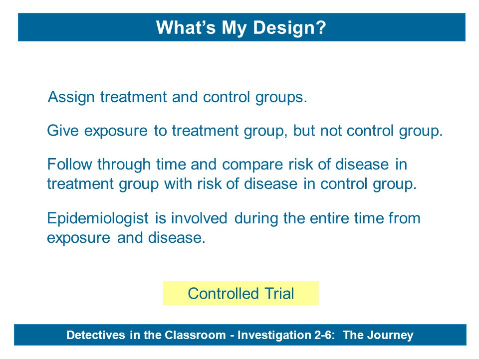Controlled Trial Epidemiologist is involved during the entire time from exposure and disease.
