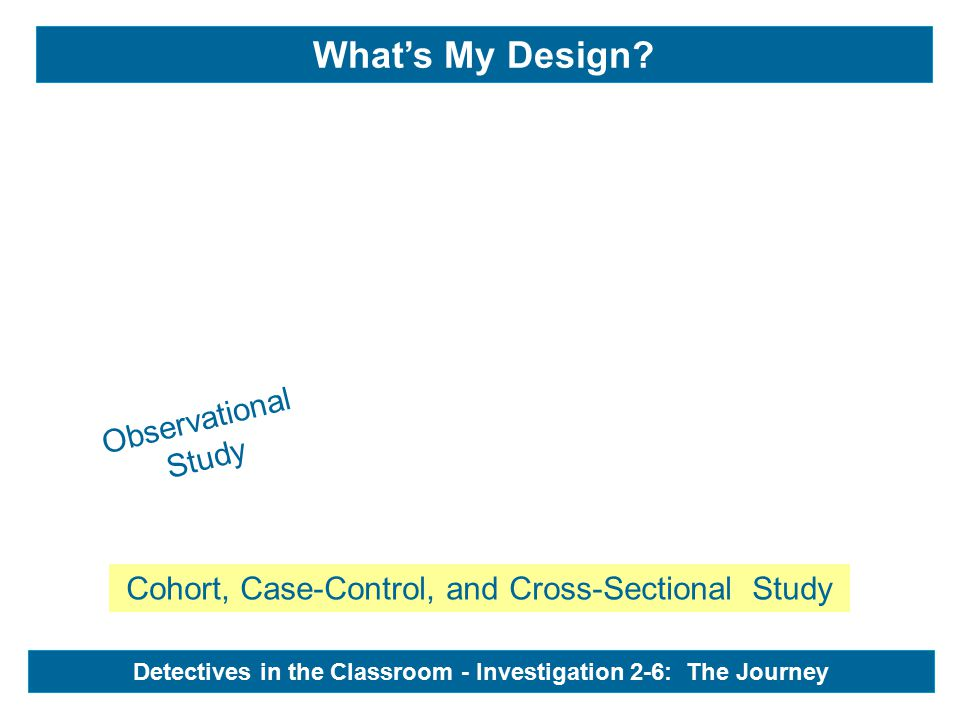 Observational Study Detectives in the Classroom - Investigation 2-6: The Journey What's My Design.