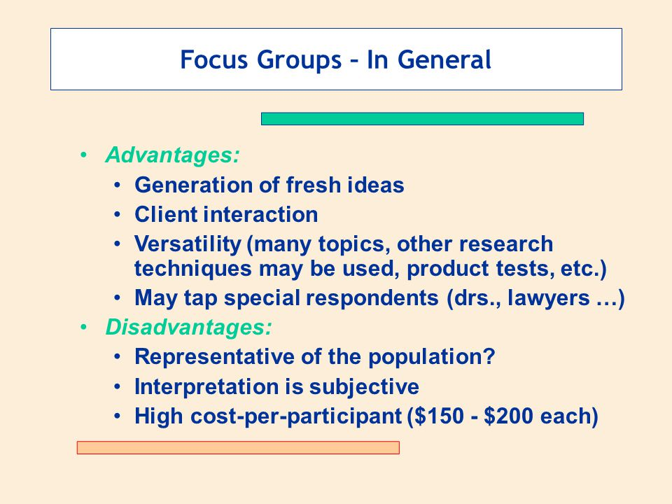 Focus Groups – In General Advantages: Generation of fresh ideas Client interaction Versatility (many topics, other research techniques may be used, product tests, etc.) May tap special respondents (drs., lawyers …) Disadvantages: Representative of the population.