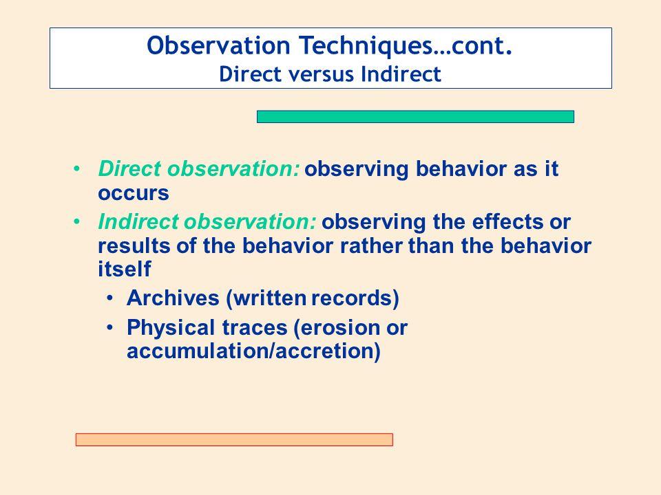Observation Techniques…cont.