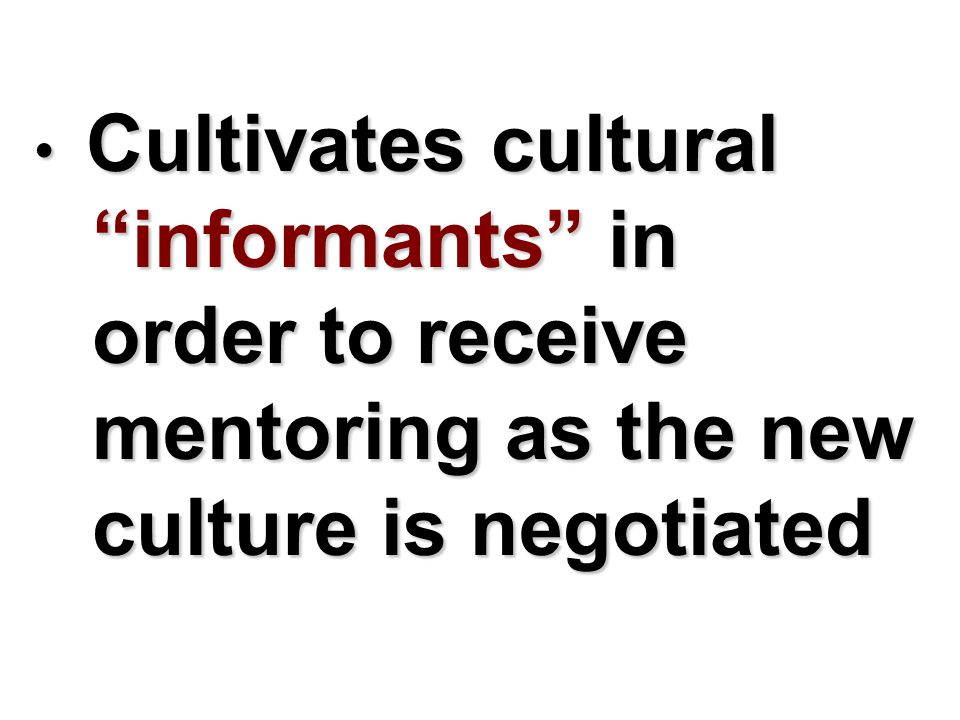 Cultivates cultural informants in order to receive mentoring as the new culture is negotiated Cultivates cultural informants in order to receive mentoring as the new culture is negotiated