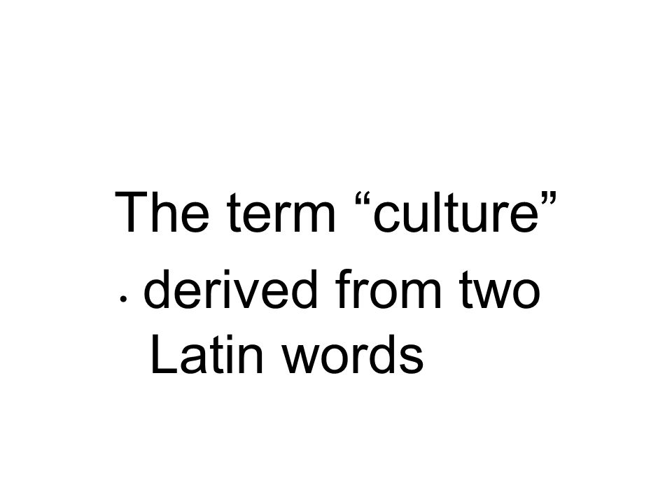 The term culture derived from two Latin words