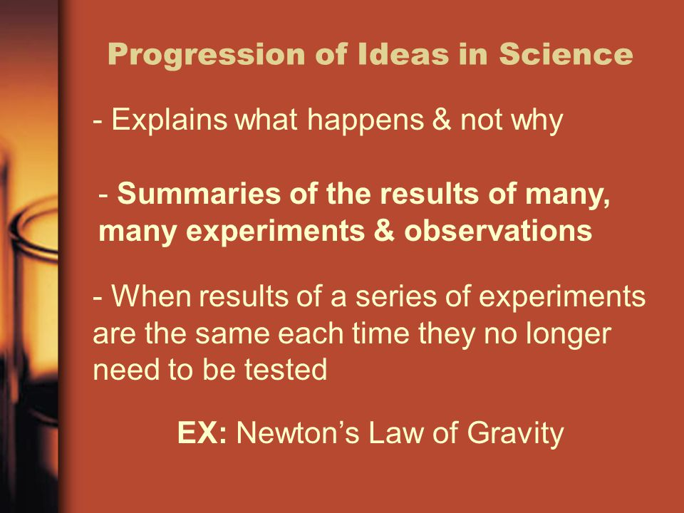 Progression of Ideas in Science - Explains what happens & not why EX: Newton's Law of Gravity - Summaries of the results of many, many experiments & o