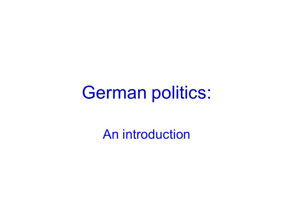 German politics: An introduction