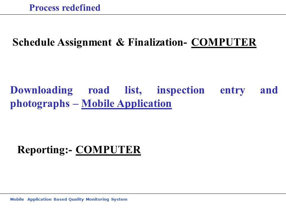 Mobile Application Based Quality Monitoring System Process redefined Schedule Assignment & Finalization- COMPUTER Downloading road list, inspection entry and photographs – Mobile Application Reporting:- COMPUTER