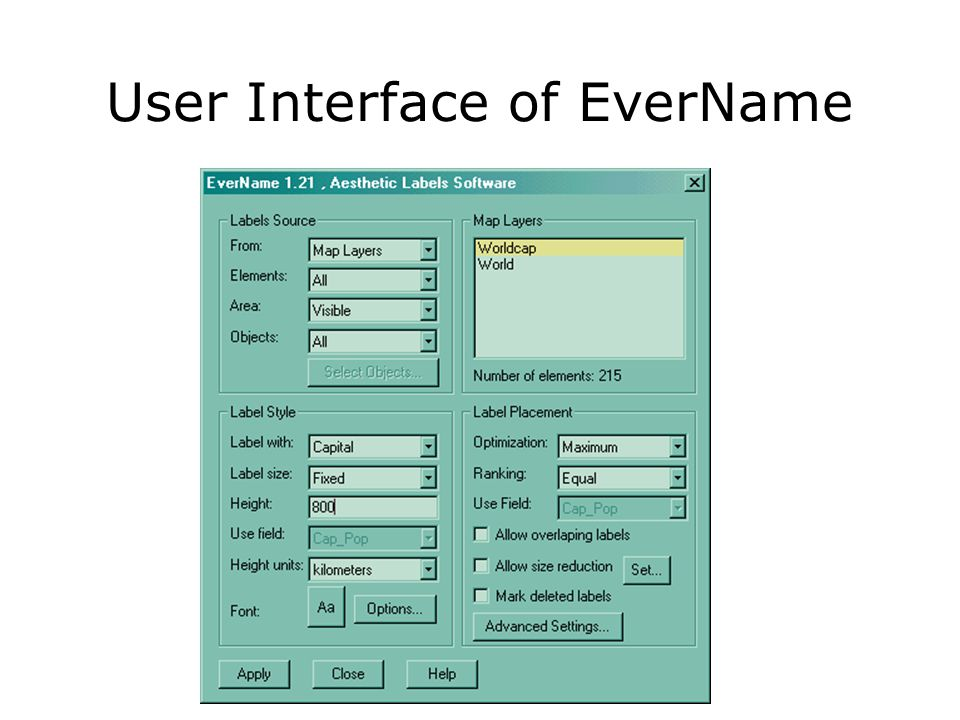 User Interface of EverName
