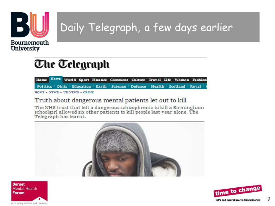 20 Your perceptions of mental health in the Media  How would you report a mental health issue if asked by an editor?