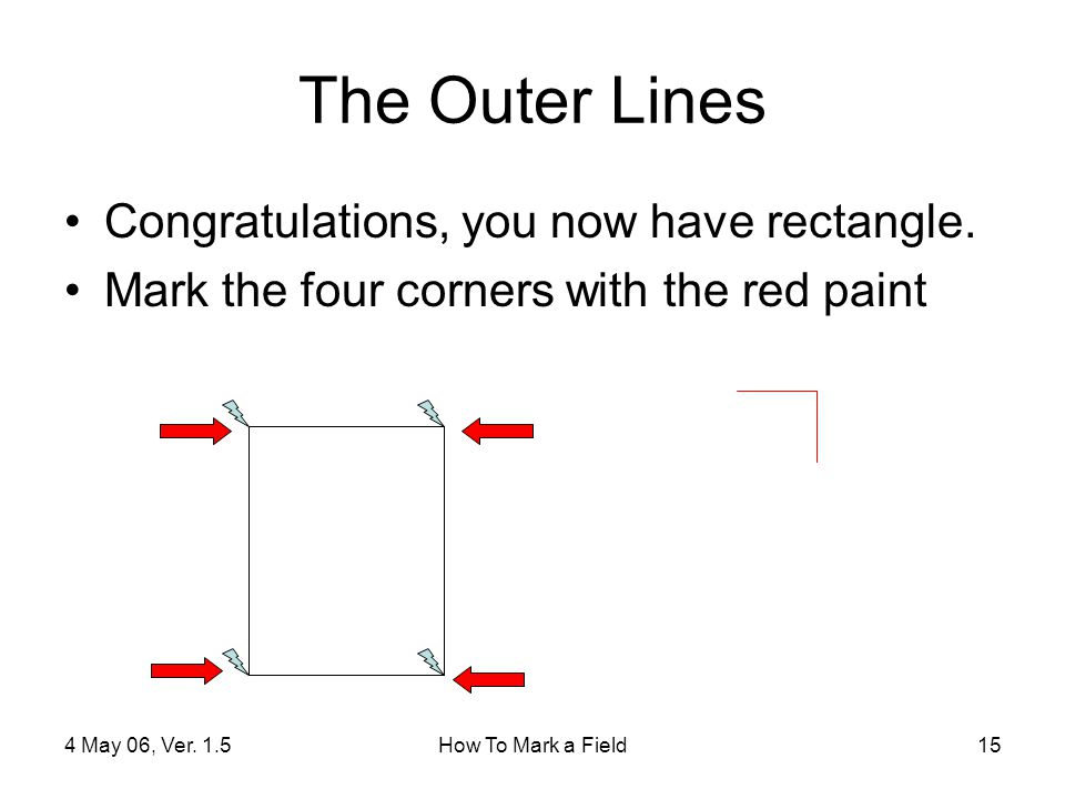 4 May 06, Ver.1.5How To Mark a Field15 The Outer Lines Congratulations, you now have rectangle.