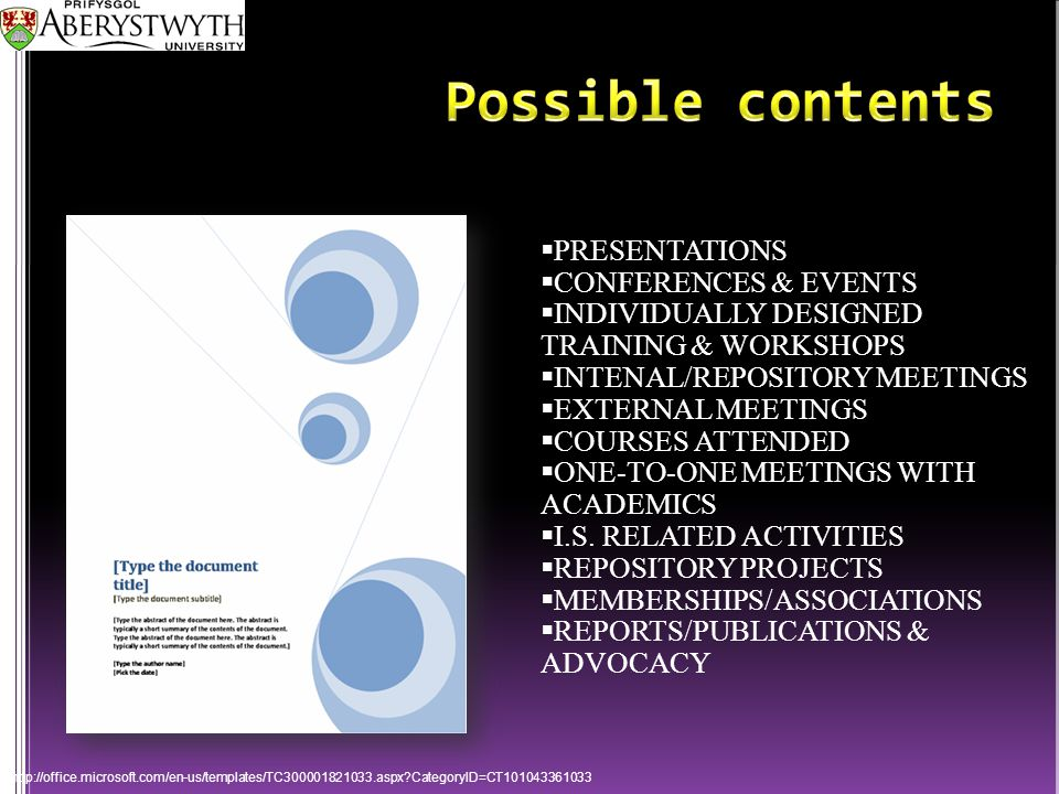  PRESENTATIONS  CONFERENCES & EVENTS  INDIVIDUALLY DESIGNED TRAINING & WORKSHOPS  INTENAL/REPOSITORY MEETINGS  EXTERNAL MEETINGS  COURSES ATTENDED  ONE-TO-ONE MEETINGS WITH ACADEMICS  I.S.