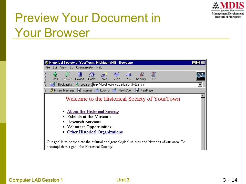 Computer LAB Session 1 Unit 3 3 - 14 Preview Your Document in Your Browser