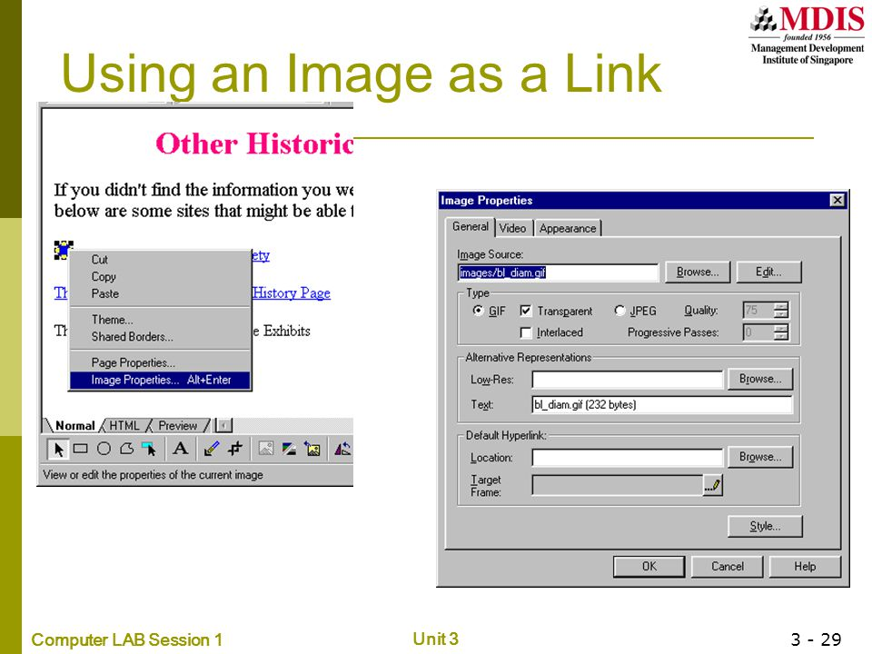 Computer LAB Session 1 Unit 3 3 - 29 Using an Image as a Link