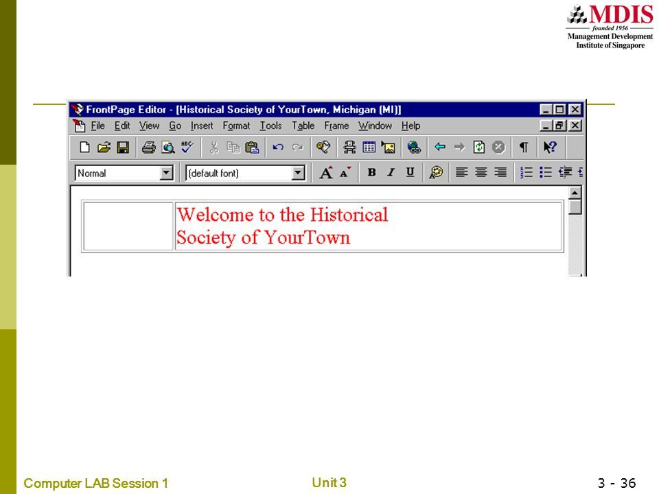 Computer LAB Session 1 Unit 3 3 - 36
