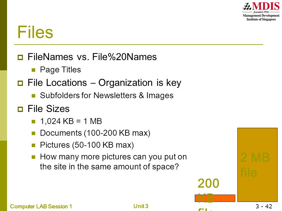 Computer LAB Session 1 Unit 3 3 - 42 Files  FileNames vs. File%20Names Page Titles  File Locations – Organization is key Subfolders for Newsletters