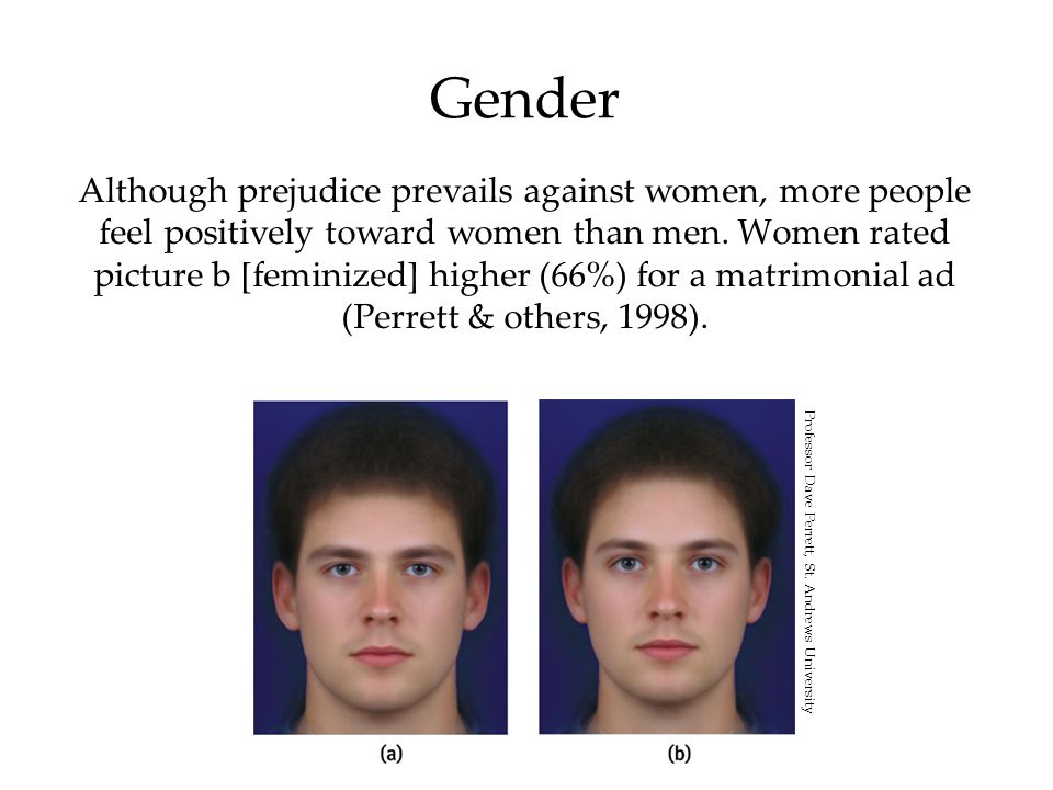 Gender Although prejudice prevails against women, more people feel positively toward women than men. Women rated picture b [feminized] higher (66%) fo