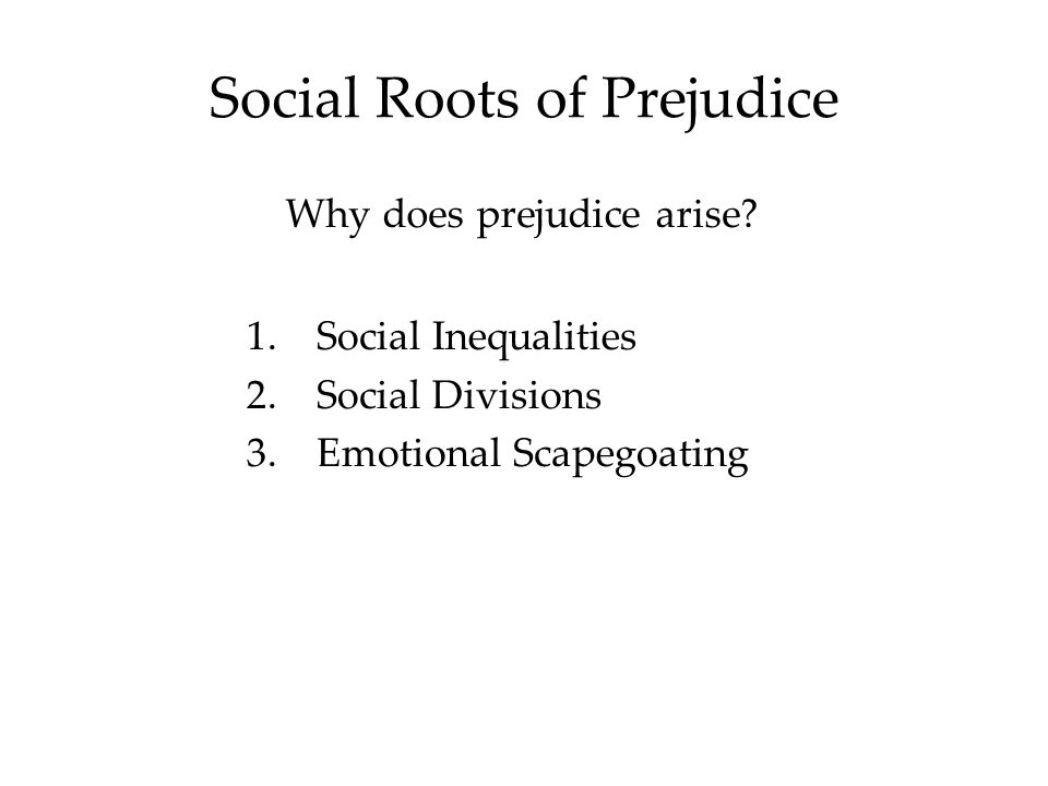 Social Roots of Prejudice Why does prejudice arise.