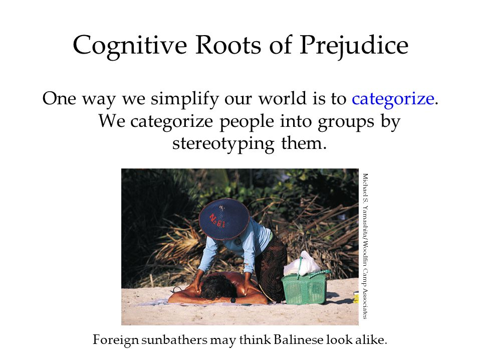 Cognitive Roots of Prejudice One way we simplify our world is to categorize.
