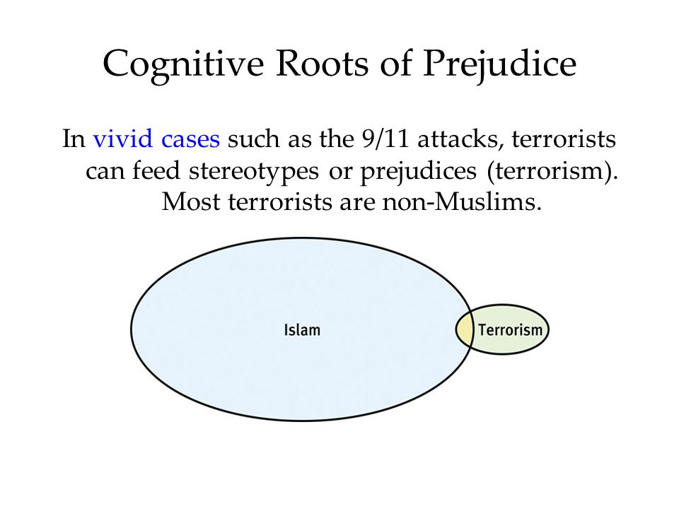 Cognitive Roots of Prejudice In vivid cases such as the 9/11 attacks, terrorists can feed stereotypes or prejudices (terrorism). Most terrorists are n