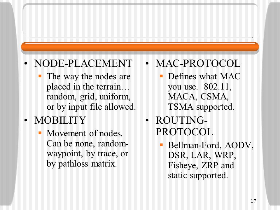 NODE-PLACEMENT  The way the nodes are placed in the terrain… random, grid, uniform, or by input file allowed.