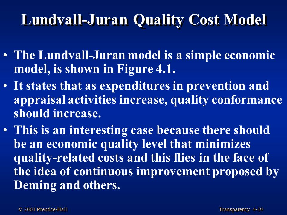Transparency 4-39 © 2001 Prentice-Hall Lundvall-Juran Quality Cost Model The Lundvall-Juran model is a simple economic model, is shown in Figure 4.1.