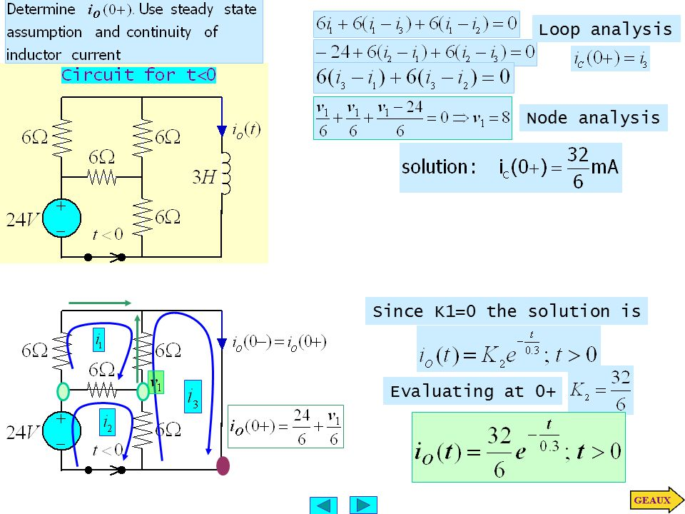 Since K1=0 the solution is Evaluating at 0+ Loop analysis Node analysis