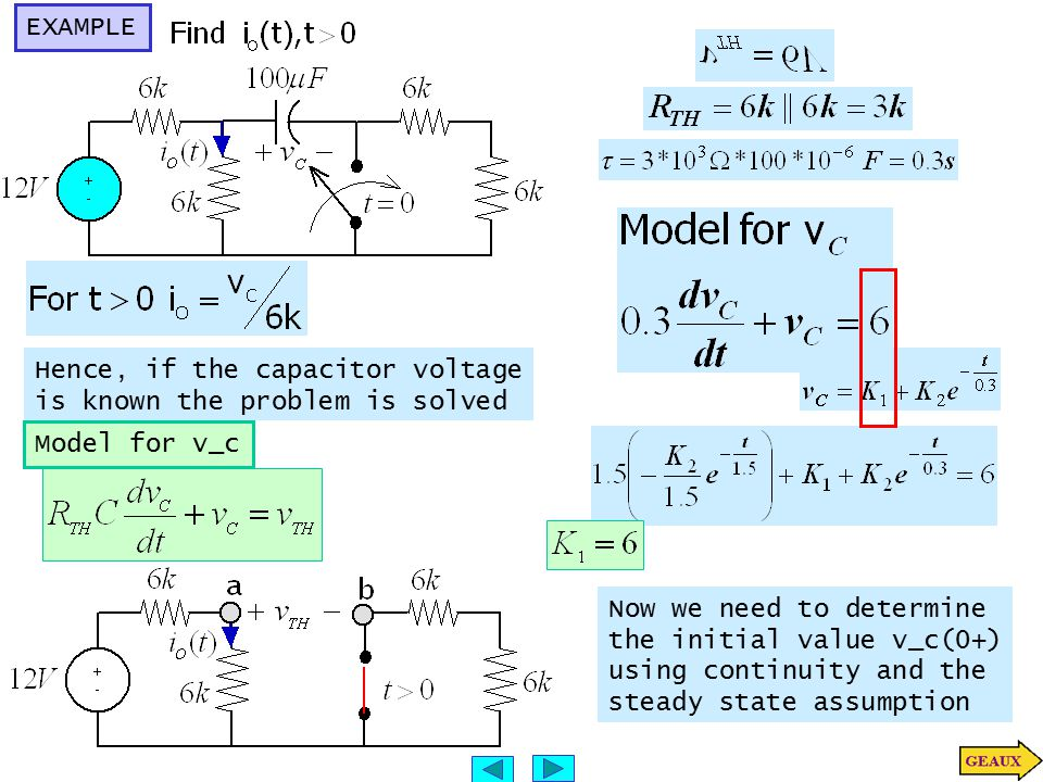 EXAMPLE Hence, if the capacitor voltage is known the problem is solved Model for v_c Now we need to determine the initial value v_c(0+) using continui