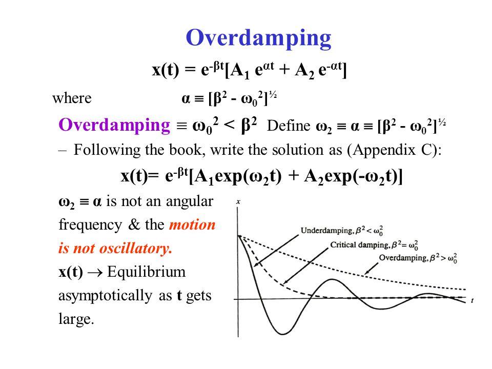 Overdamping x(t) = e -βt [A 1 e αt + A 2 e -αt ] where α  [β 2 - ω 0 2 ] ½ Overdamping  ω 0 2 < β 2 Define ω 2  α  [β 2 - ω 0 2 ] ½ –Following the book, write the solution as (Appendix C): x(t)= e -βt [A 1 exp(ω 2 t) + A 2 exp(-ω 2 t)] ω 2  α is not an angular frequency & the motion is not oscillatory.