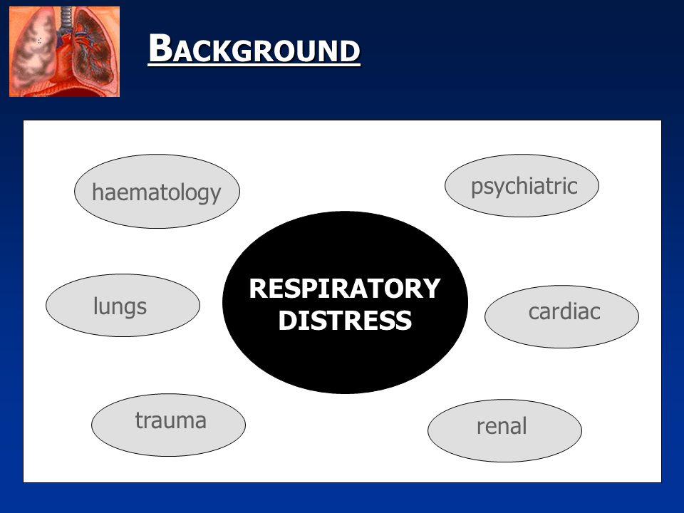 B ACKGROUND haematology RESPIRATORY DISTRESS lungs trauma psychiatric cardiac renal