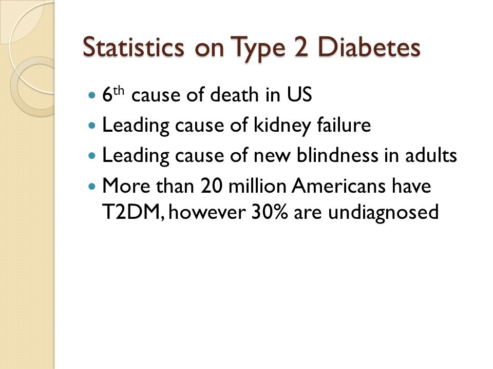 Statistics on Type 2 Diabetes 6 th cause of death in US Leading cause of kidney failure Leading cause of new blindness in adults More than 20 million Americans have T2DM, however 30% are undiagnosed