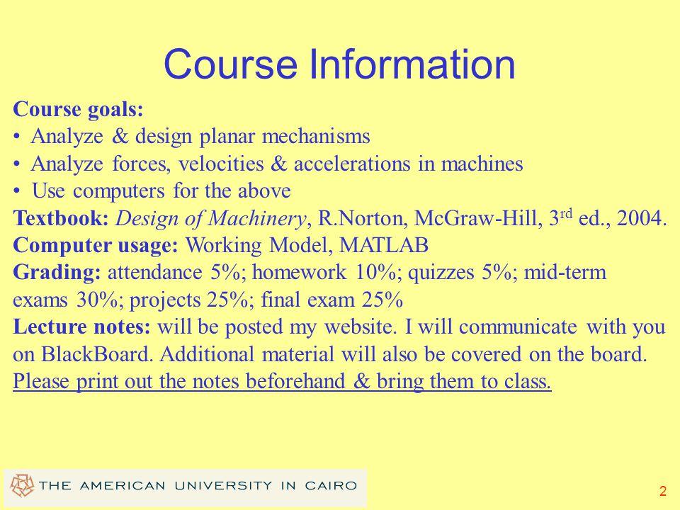 1 MENG 372 Mechanical Systems Spring 2011 Dr. Mustafa Arafa American University in Cairo Mechanical Engineering Department mharafa@aucegypt.edu